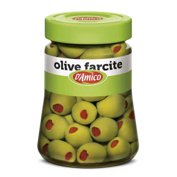 Olive farcite con pasta di peperoni