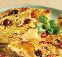 Frittata con peperoni alla siciliana e lampascioni alla pugliese