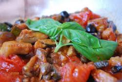 Aubergines Caponata with olives