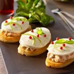 Bruschetta with lemon anchovies mousse and mozzarella