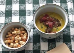 Crema di patate allo zafferano, con capocollo croccante e funghi arrostiti